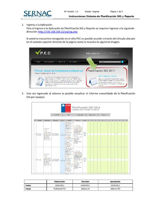 Instrucciones Reporte Planificación SIG