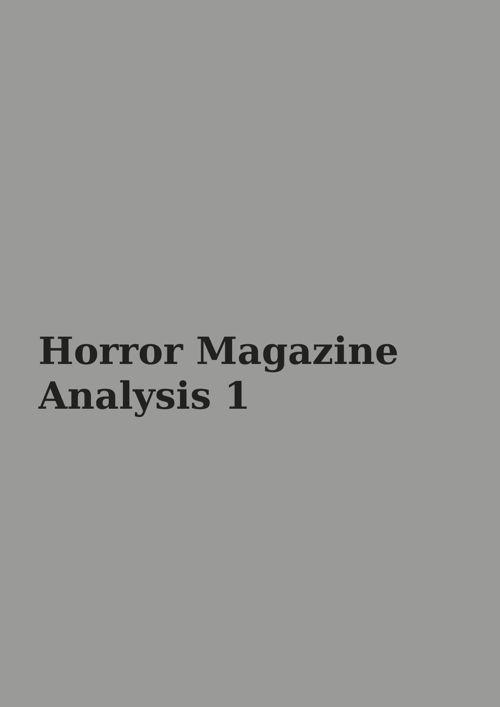 Horror magazine analysis 1