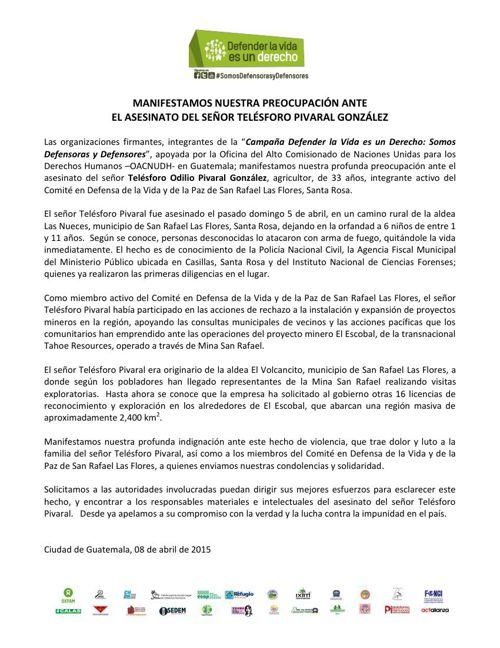 Comunicado caso Telesforo Pivaral San Rafael las Flores Santa Ro