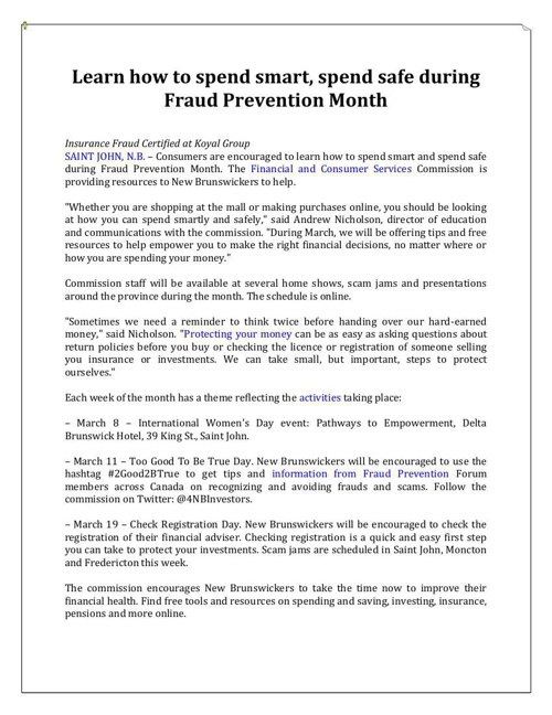 Spend smart and spend safe during Fraud Prevention Month