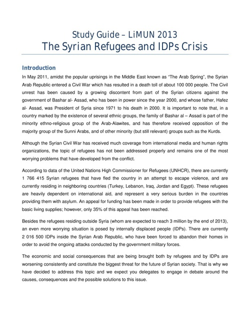 Study Guide - Syrian Refugees