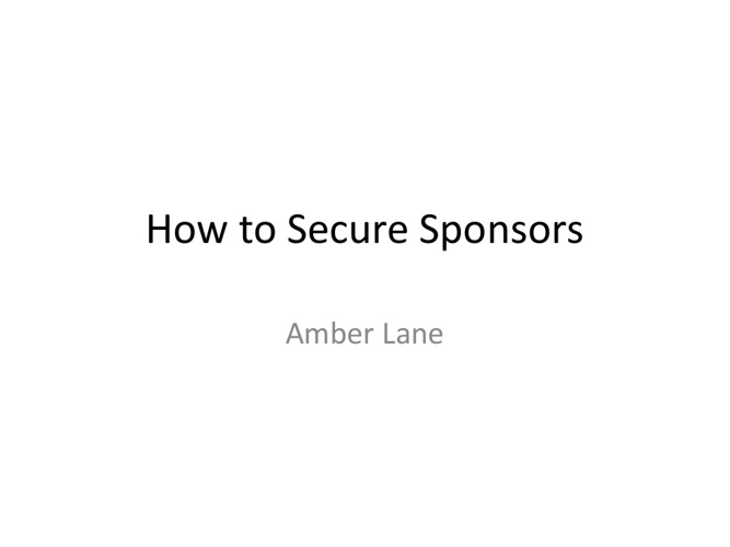 How to Secure Sponsorship