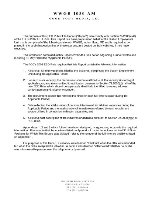 EEO REPORT 2010--Y 2011