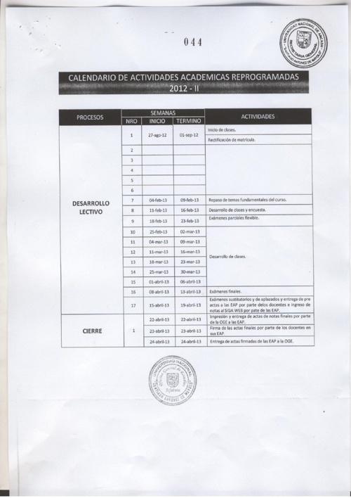CALENDARIO DE ACTIVIDADES ACADÉMICAS DE LA UNASAM 2012-2013
