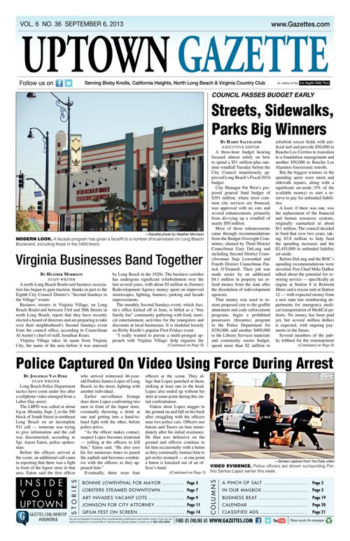 Uptown Gazette  |  September 6, 2013