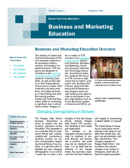 CTE Busines and Marketing Department Newsletter - Nov 12