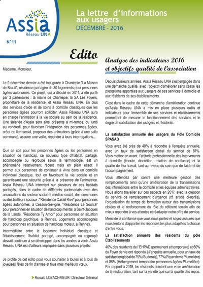 Lettre aux usagers n°11 DEC 2016