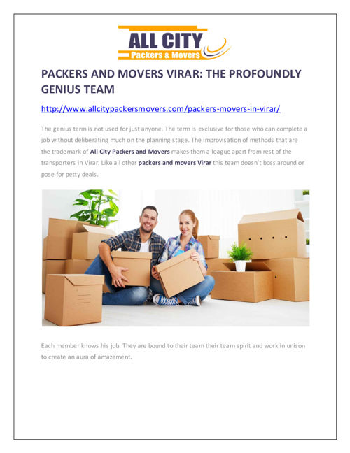 Packers and Movers Virar: The Profoundly Genius Team