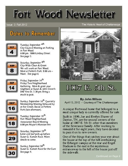 Fort Wood Newsletter Fall 2012