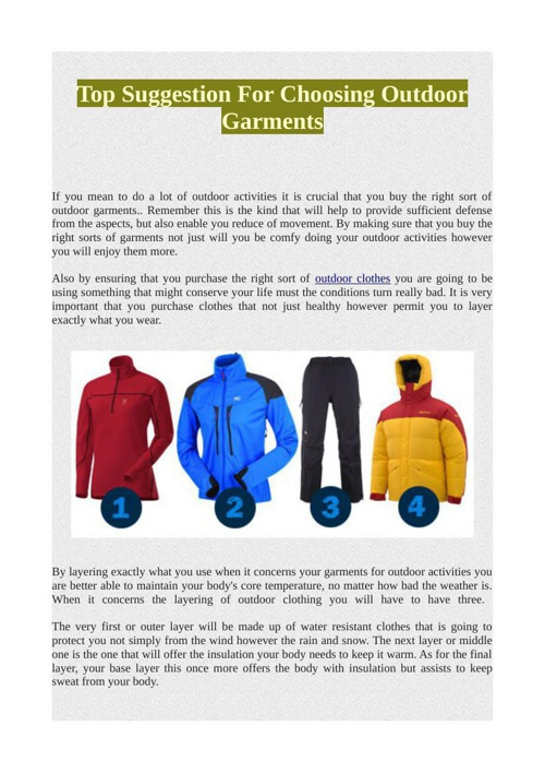 Top Suggestion For Choosing Outdoor Garments