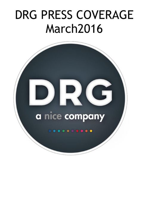 DRG Publicity Update -March 2016