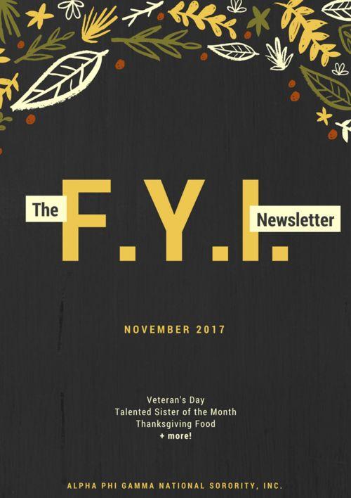 The F.Y.I. Newsletter - November 2017
