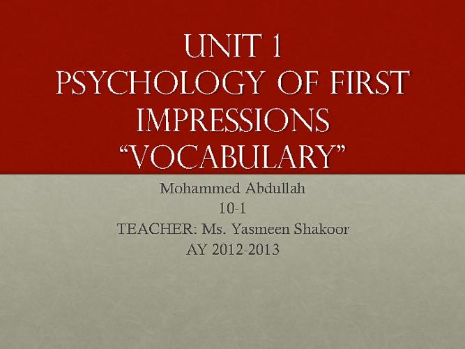 UNIT1:VOCABULARY