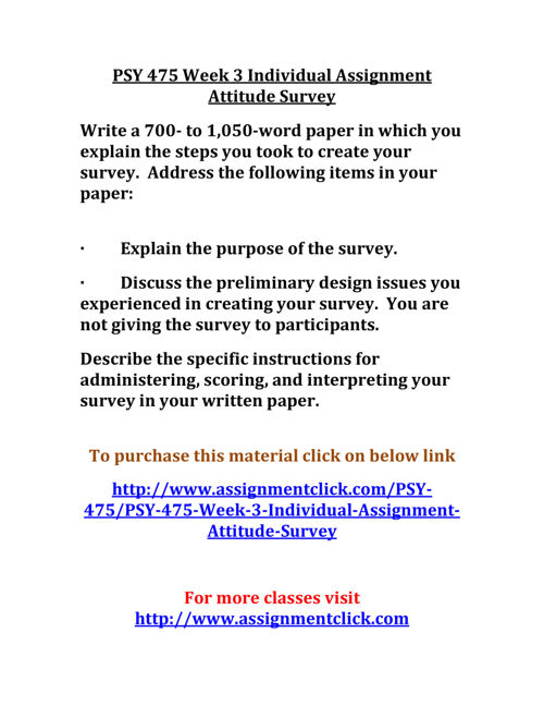 UOP PSY 475 Week 3 Individual Assignment Attitude Survey