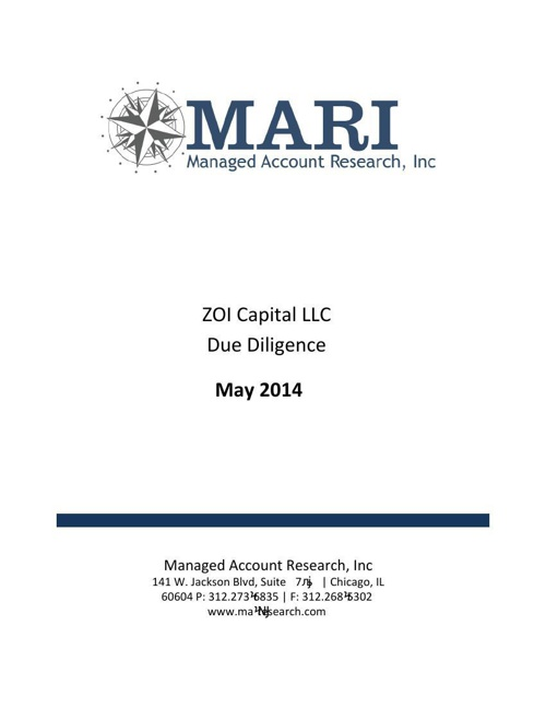 MARI ZOI Due Diligence eBook May 2014
