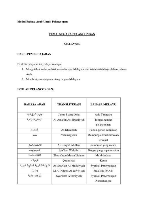 Modul Bahasa Arab Untuk Pelancongan
