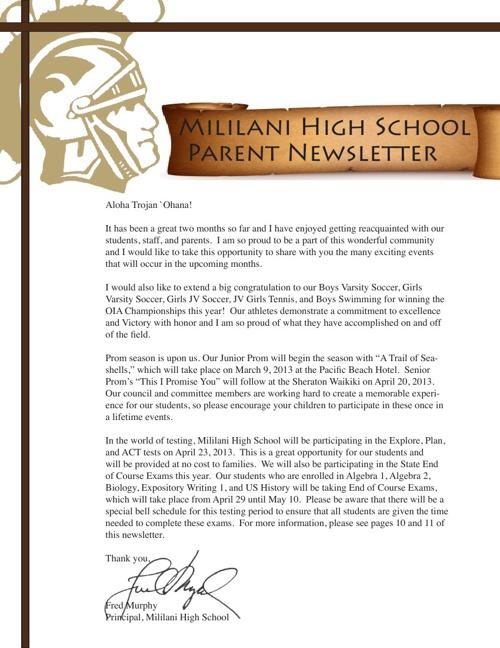 Quarter 3 Parent Newsletter