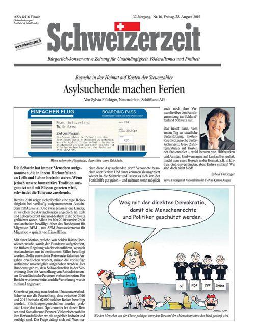 Schweizerzeit-Ausgabe Nr. 16 vom 28.08.2015