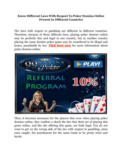 Know Different Laws With Respect To Poker Domino Online Pres