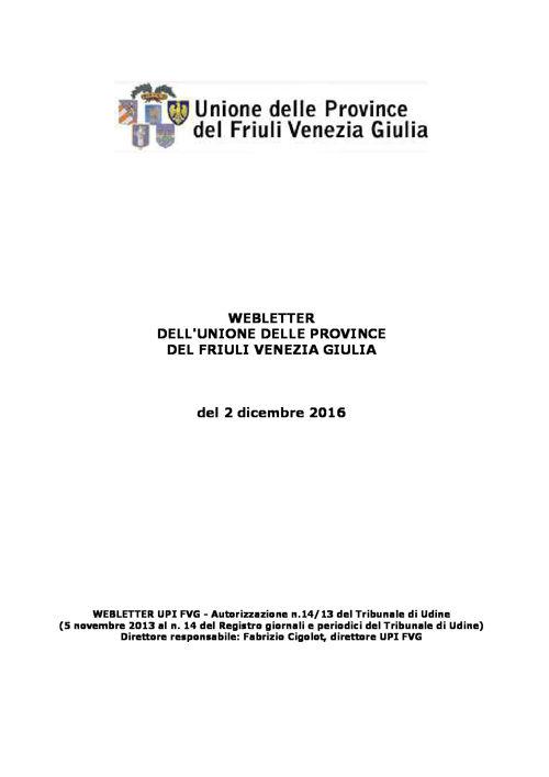 Webletter UPI FVG del 2/12/2016