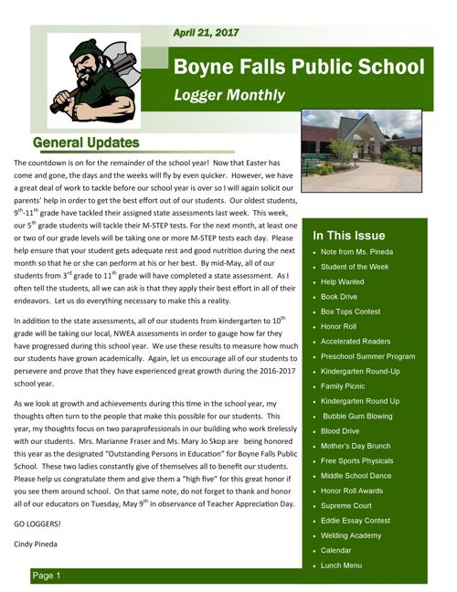 April 21, 2017 Logger Monthly