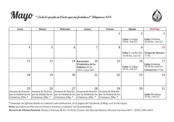 Calendario de actividades - Mayo | Junio 2015