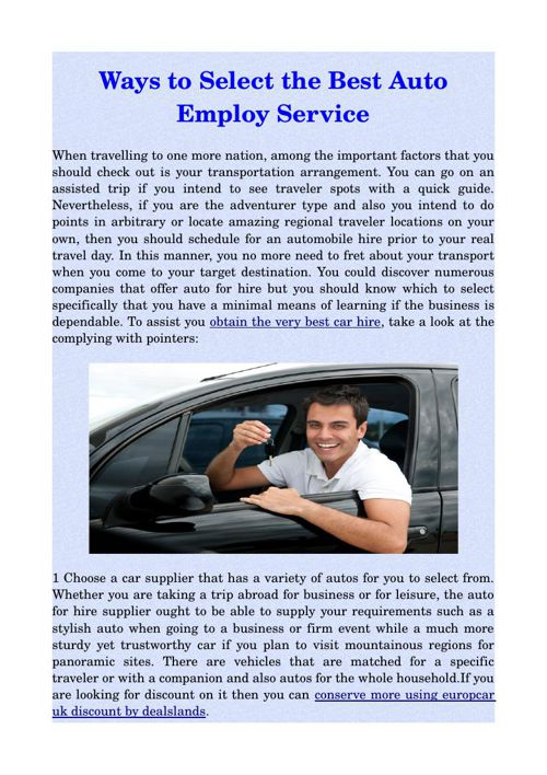 Ways to Select the Best Auto Employ Service