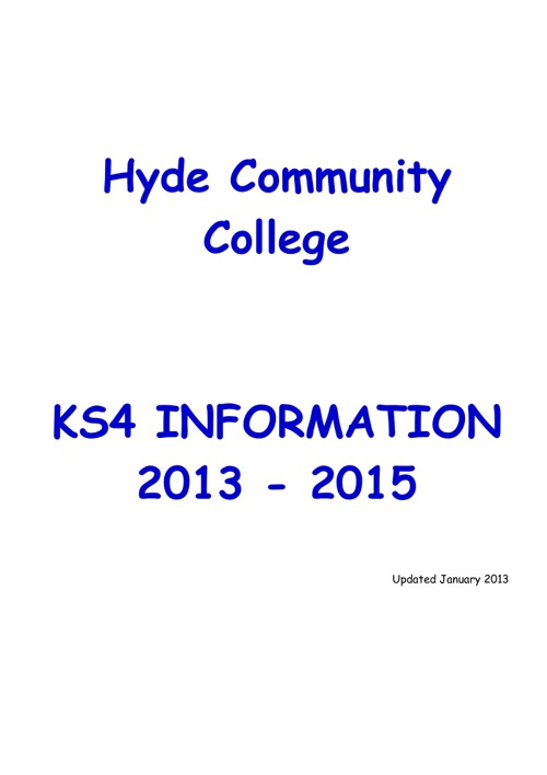 KS4 Information Booklet 2013 - 2015