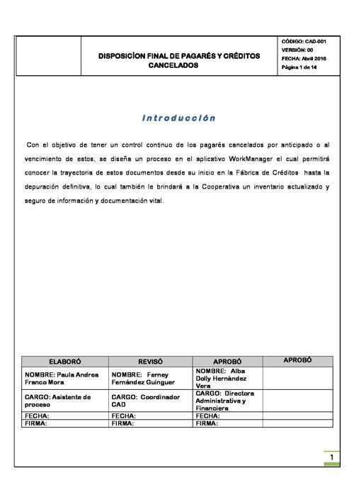 Manual de procedimientos Disposicion final de pagares