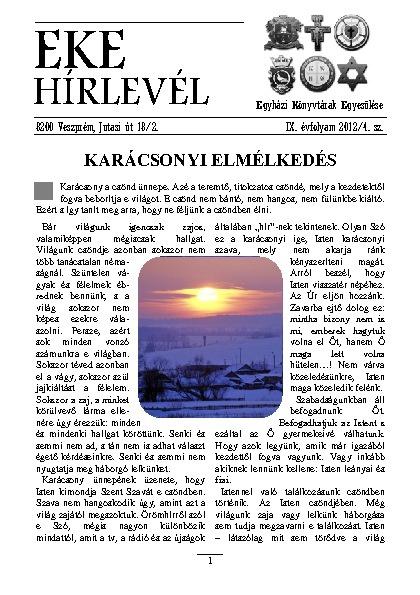EKE hírlevél 9. évfolyam 2012/4