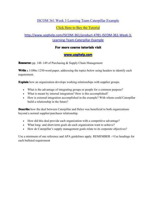 ISCOM 361 Week 3 Learning Team Caterpillar Example