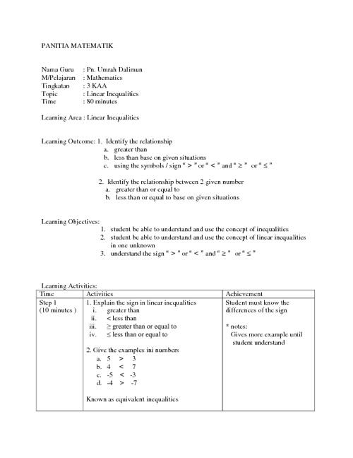 Contoh Rancangan Pengajaran Harian Matematik