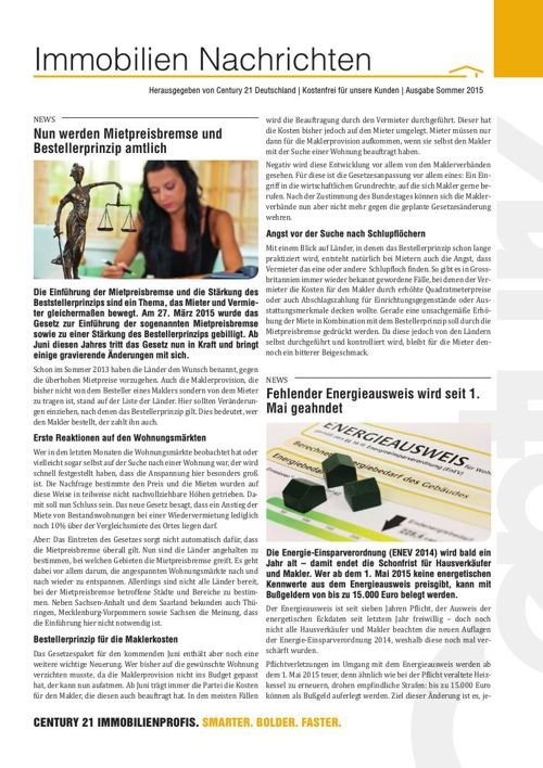 Immobilien Nachrichten Sommer 2015