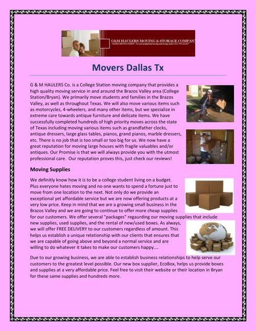 Movers Dallas Tx