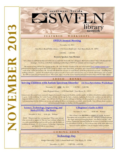 SWFLN November 2013 CE News