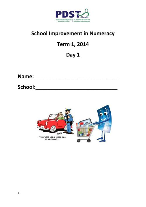 PP SSE & Numeracy booklet Day 1 5.6.15