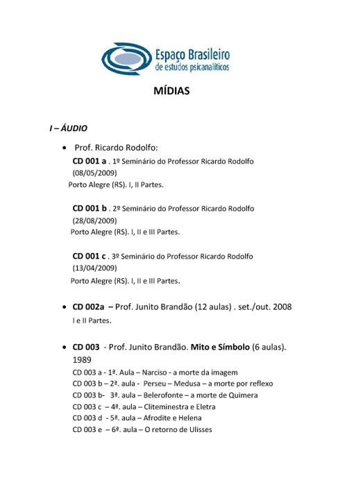 Lista de mídias - Biblioteca EBEP 2012