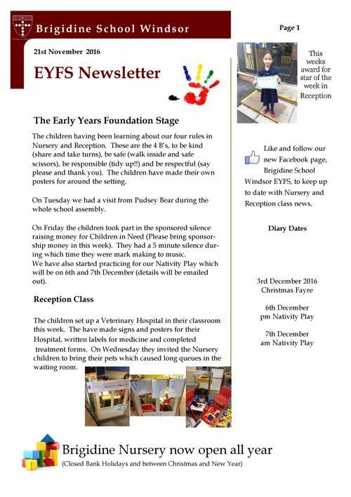 Brigidine EYFS newsletter 21.11.16