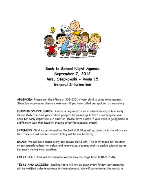 Back to School Agenda 2012-2013