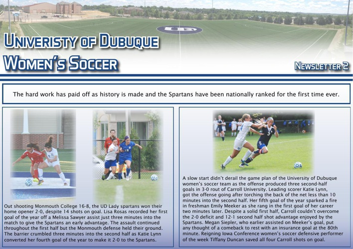 University of Dubuque Women's Soccer 2014 Newsletter: Issue 2