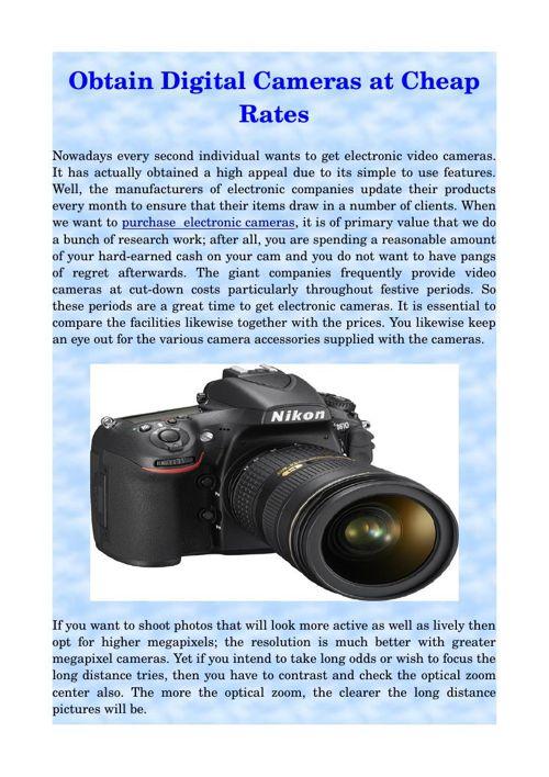 Obtain Digital Cameras at Cheap Rates