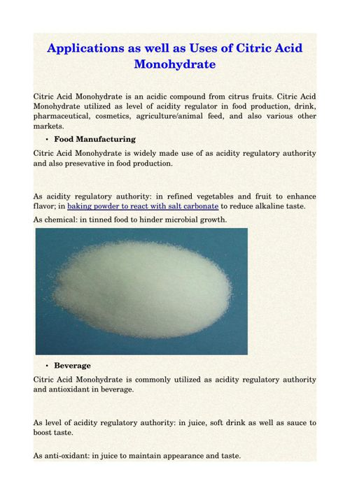 Applications as well as Uses of Citric Acid Monohydrate