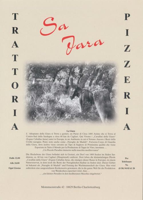 Trattoria Sa Jara - Getränkekarte