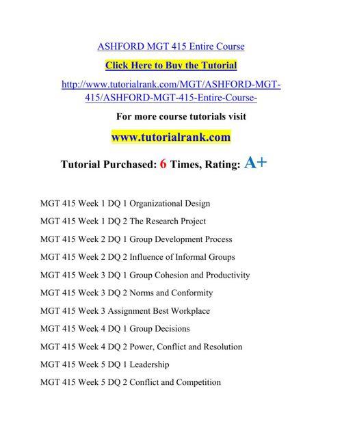 MGT 415 Academic Professor / tutorialrank.com