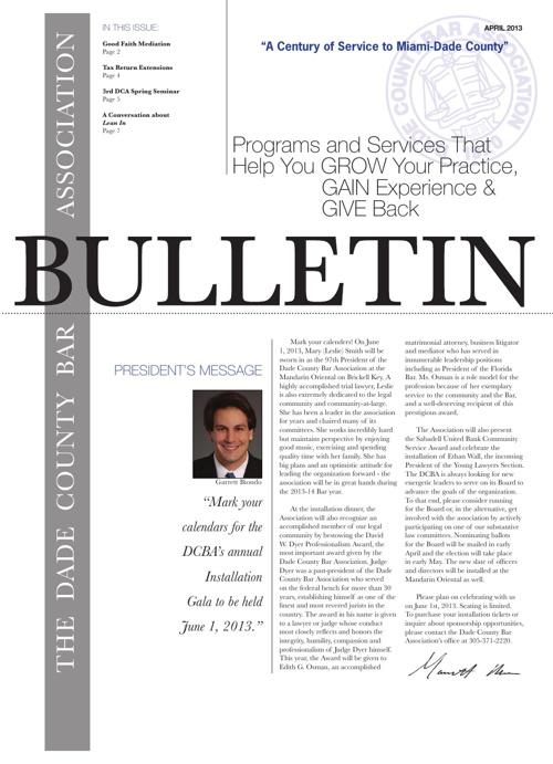 April 2013 Bulletin