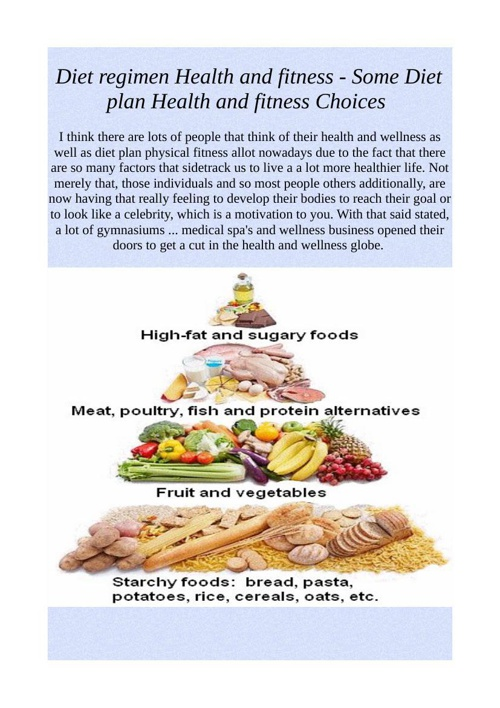 Diet regimen Health and fitness - Some Diet plan Health and fitn