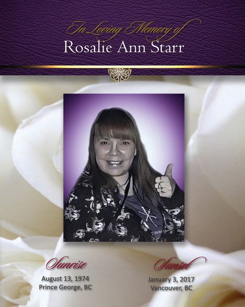 Memorial Card for Rosalie Ann Starr