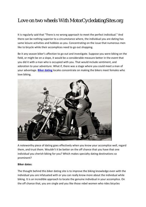 Love on two wheels With MotorCycledatingSites.org