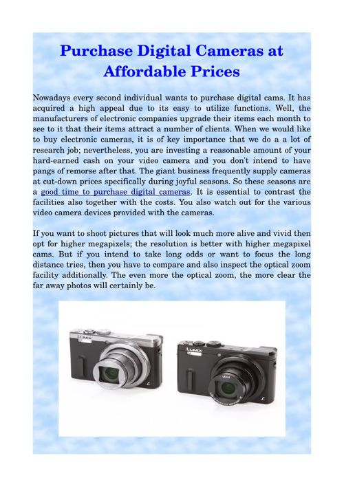Purchase Digital Cameras at Affordable Prices