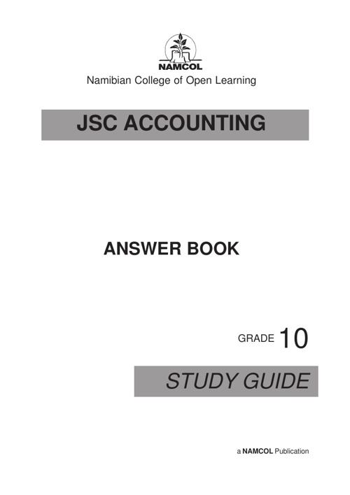 JSC Accounting Answer Booklet